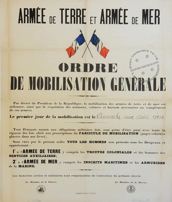 Affiche mobilisation generale 14 18