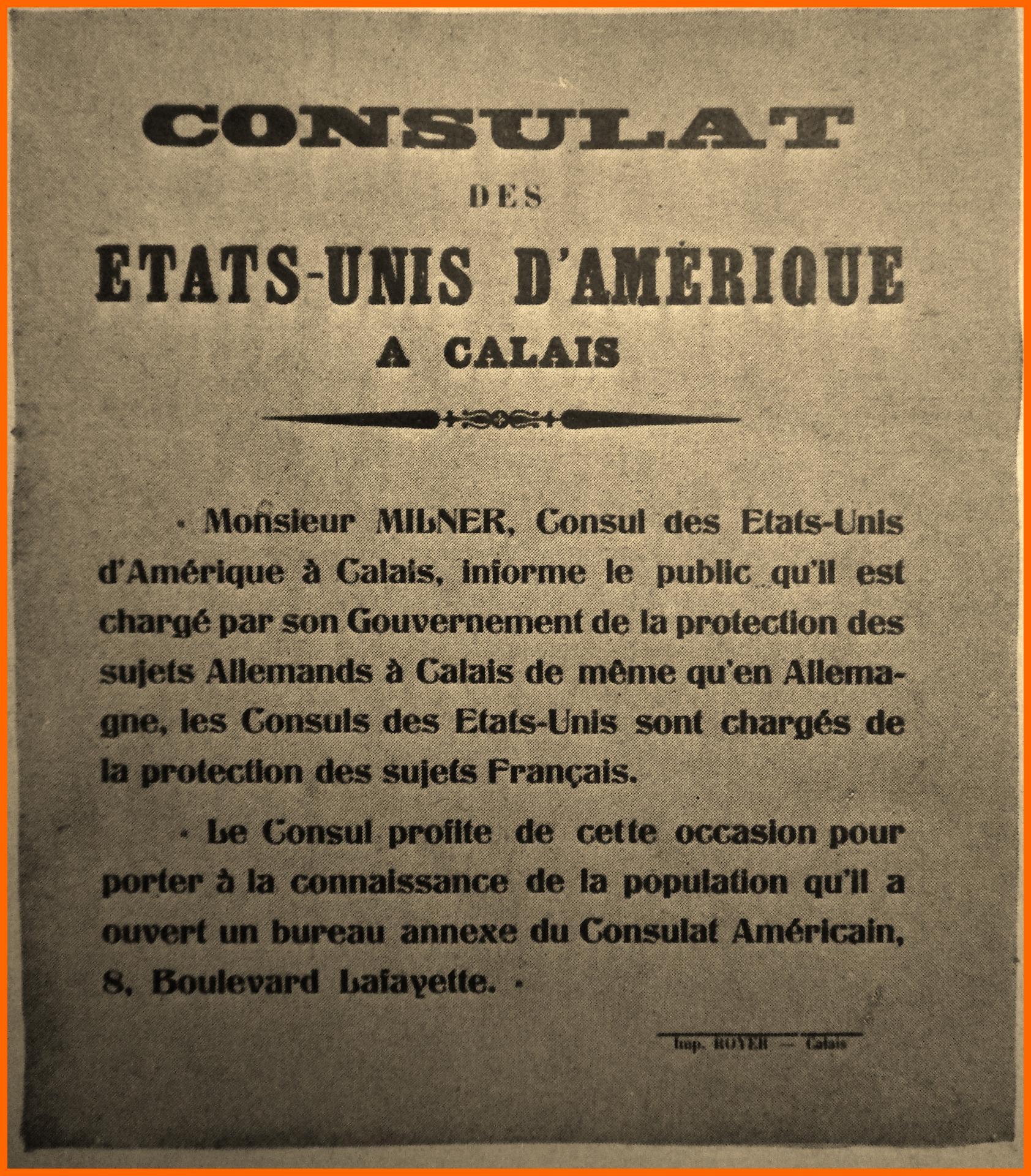 Calais 14 18 affiche du consulat encadre