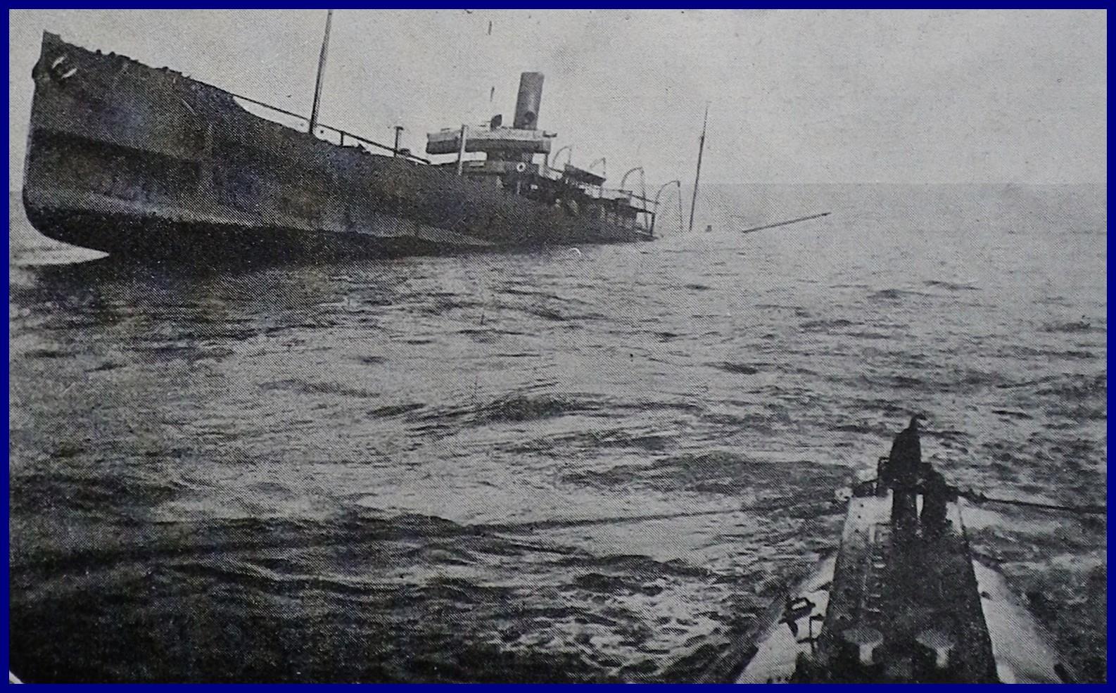 Calais 14 18 agonie d un transport de ravitaillement torpille par un sous marin allemand 2 encadre