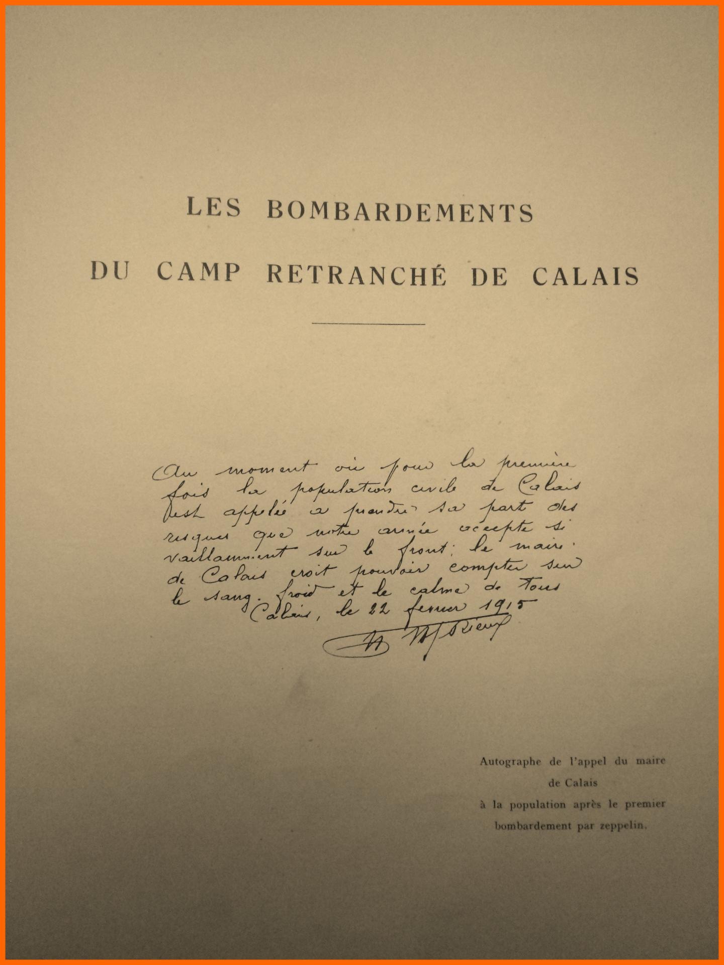 Calais 14 18 appel du maire de calais encadre