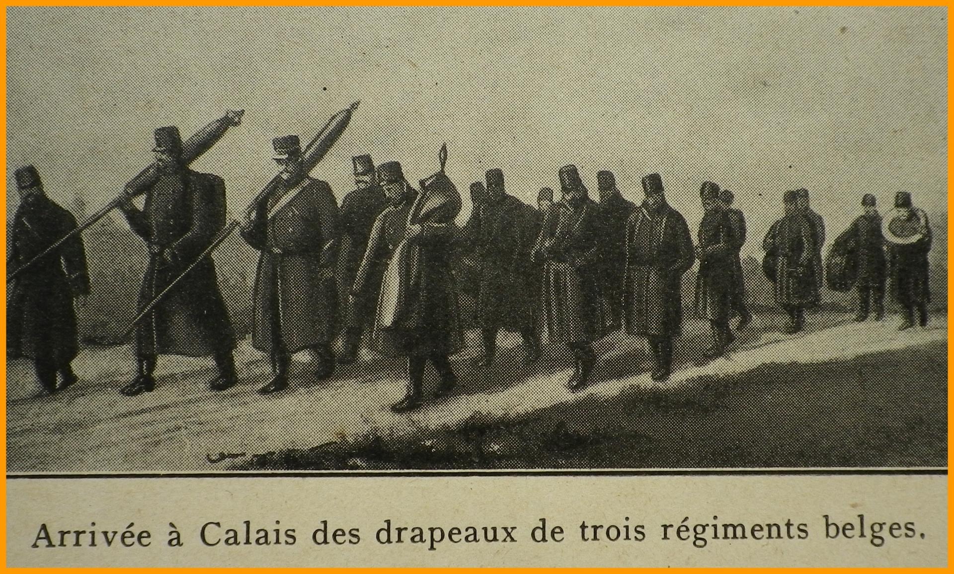 Calais 14 18 arrivee des drapeaux de trois regiments belges encadre