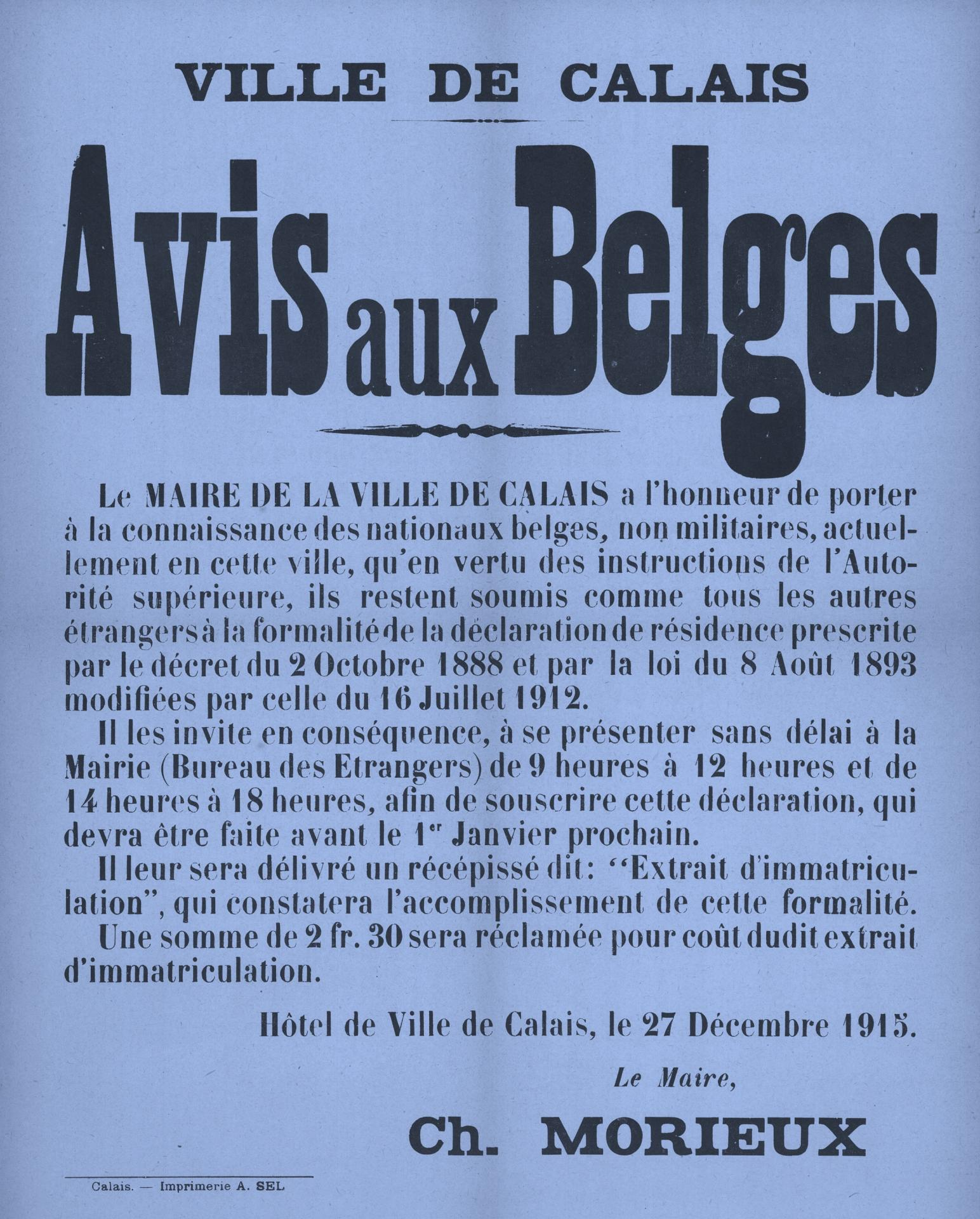 Calais 14 18 avis aux belges