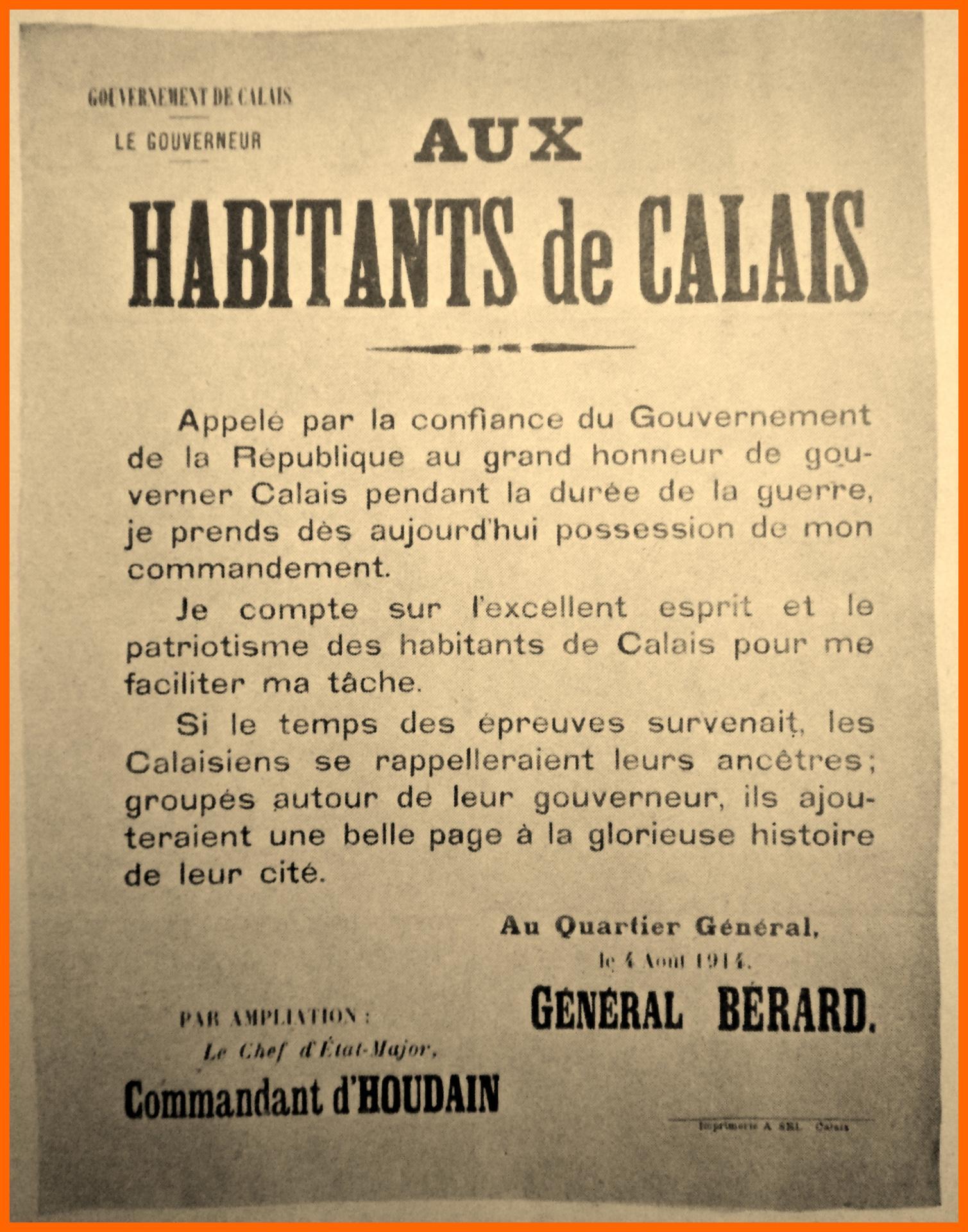 Calais 14 18 avis aux habitants de calais encadre