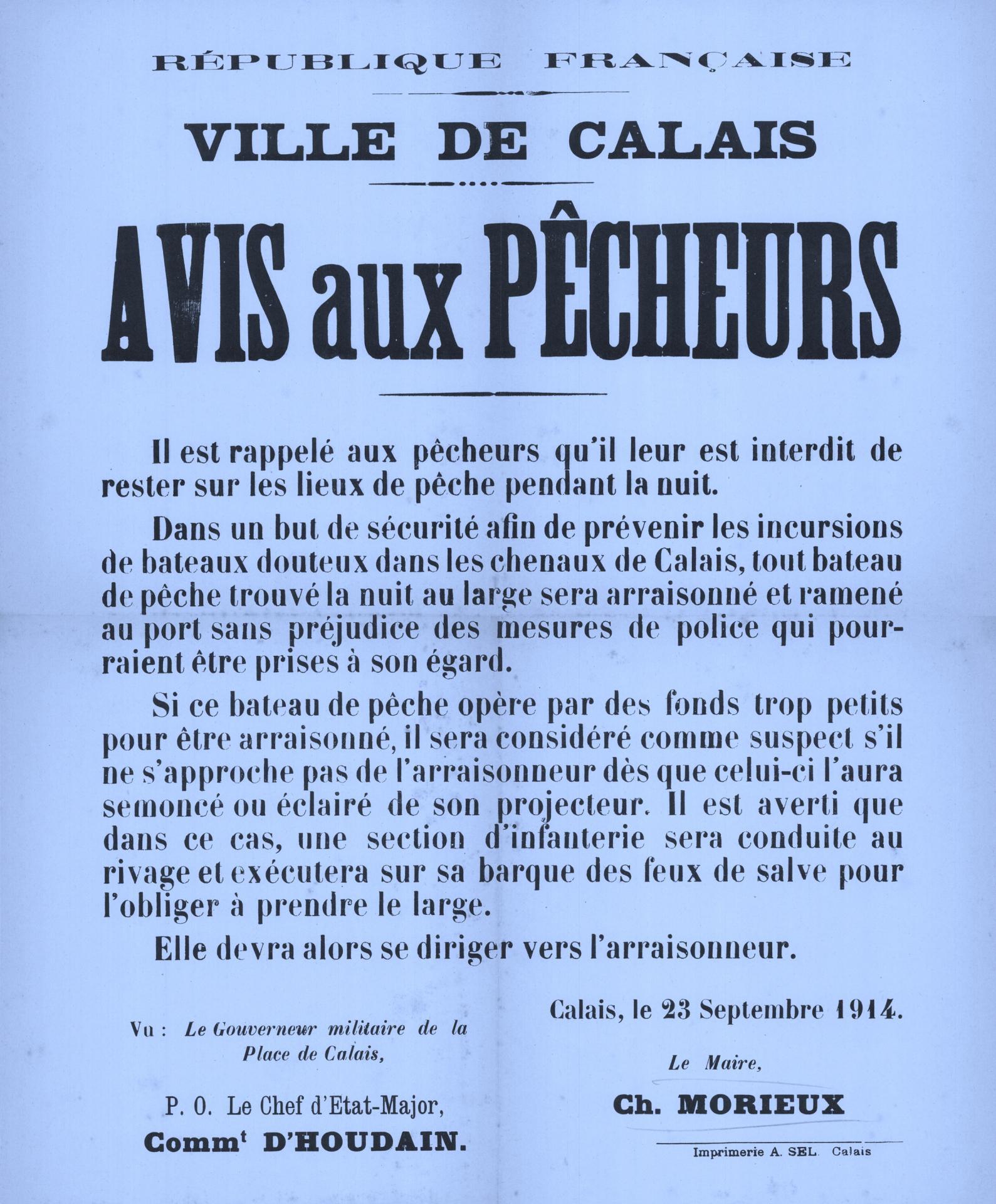 Calais 14 18 avis aux pecheurs