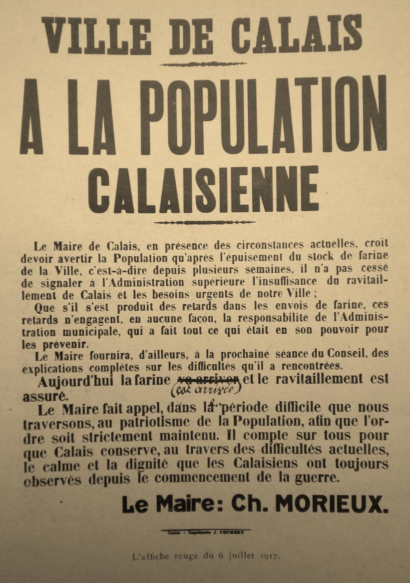 Calais 14 18 avis du maire sur l approvisionnement