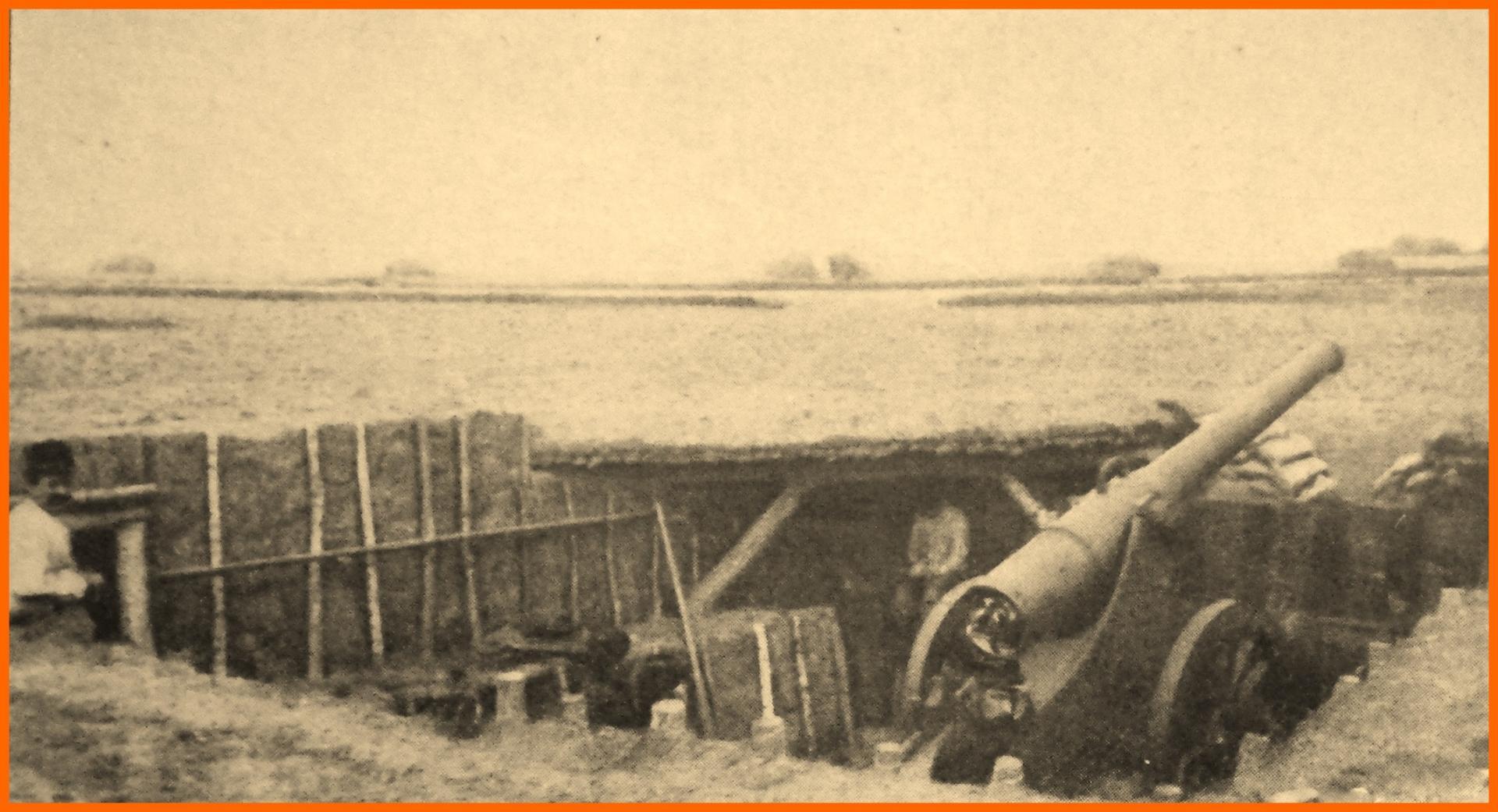 Calais 14 18 batterie de canons pour la defense du camp retranche de calais encadre