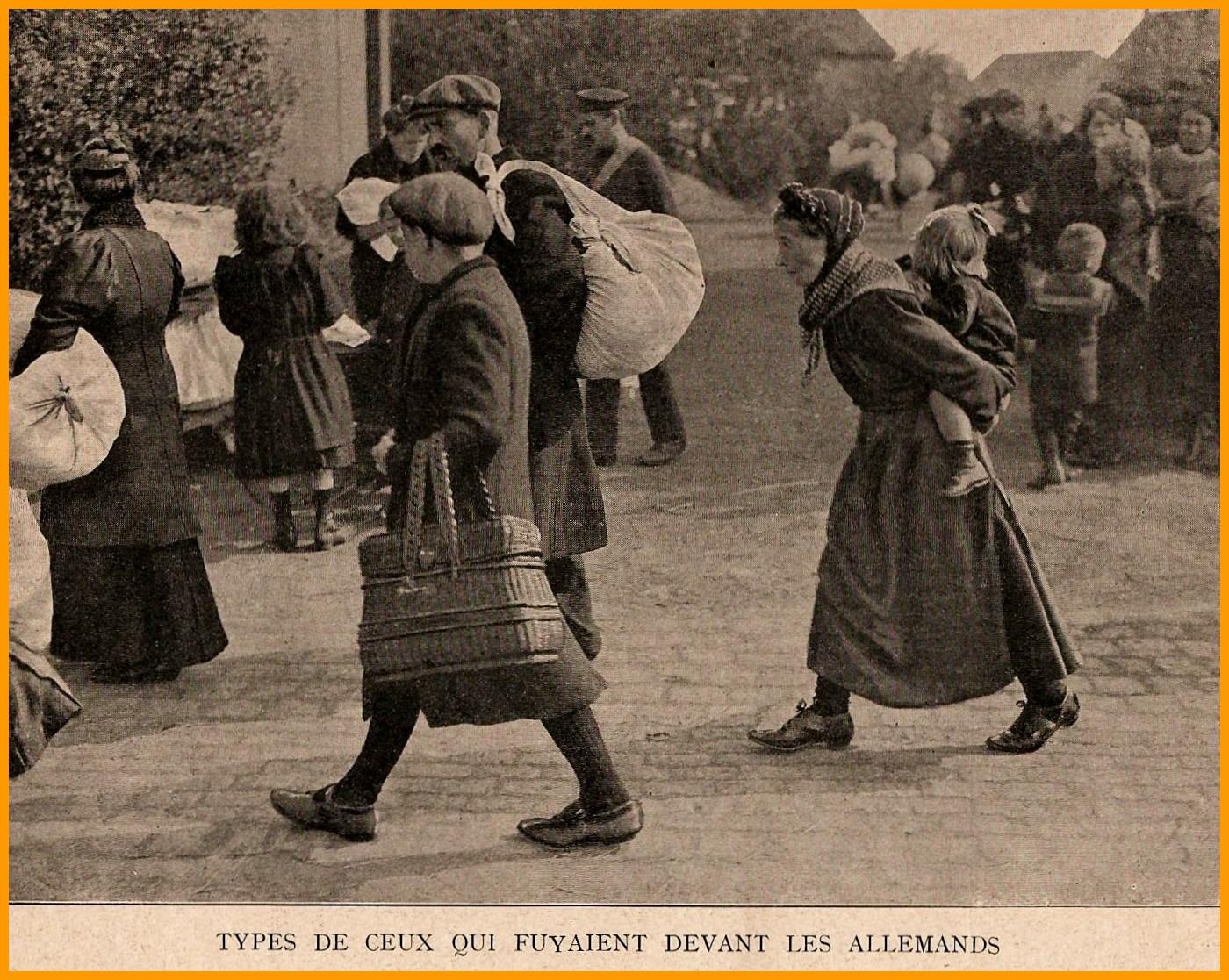 Calais 14 18 belges fuyant les allemands encadre