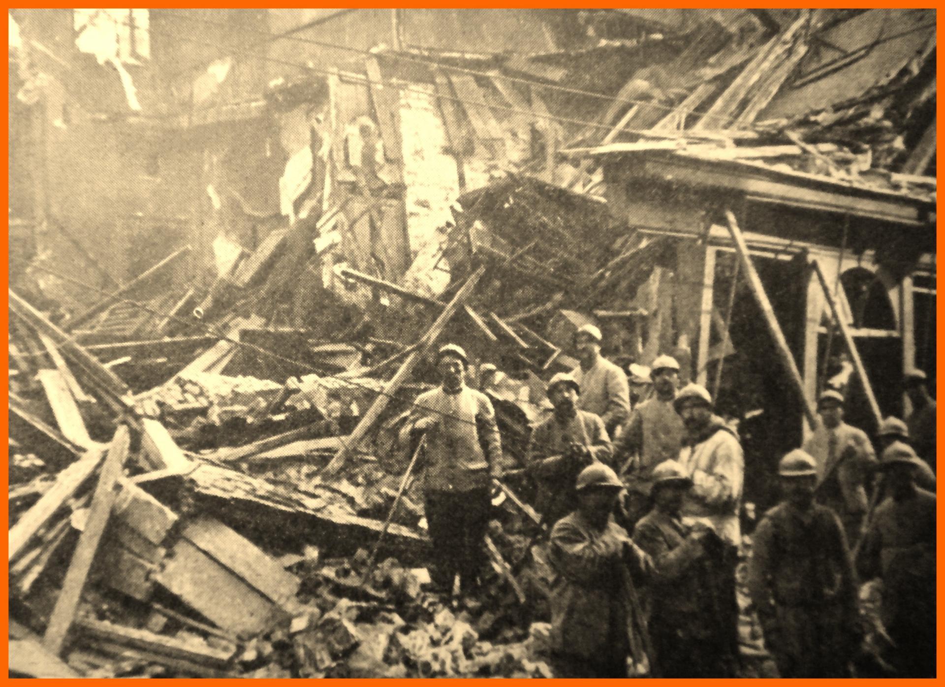 Calais 14 18 bombardement des 3 et 4 sept 1917 encadre