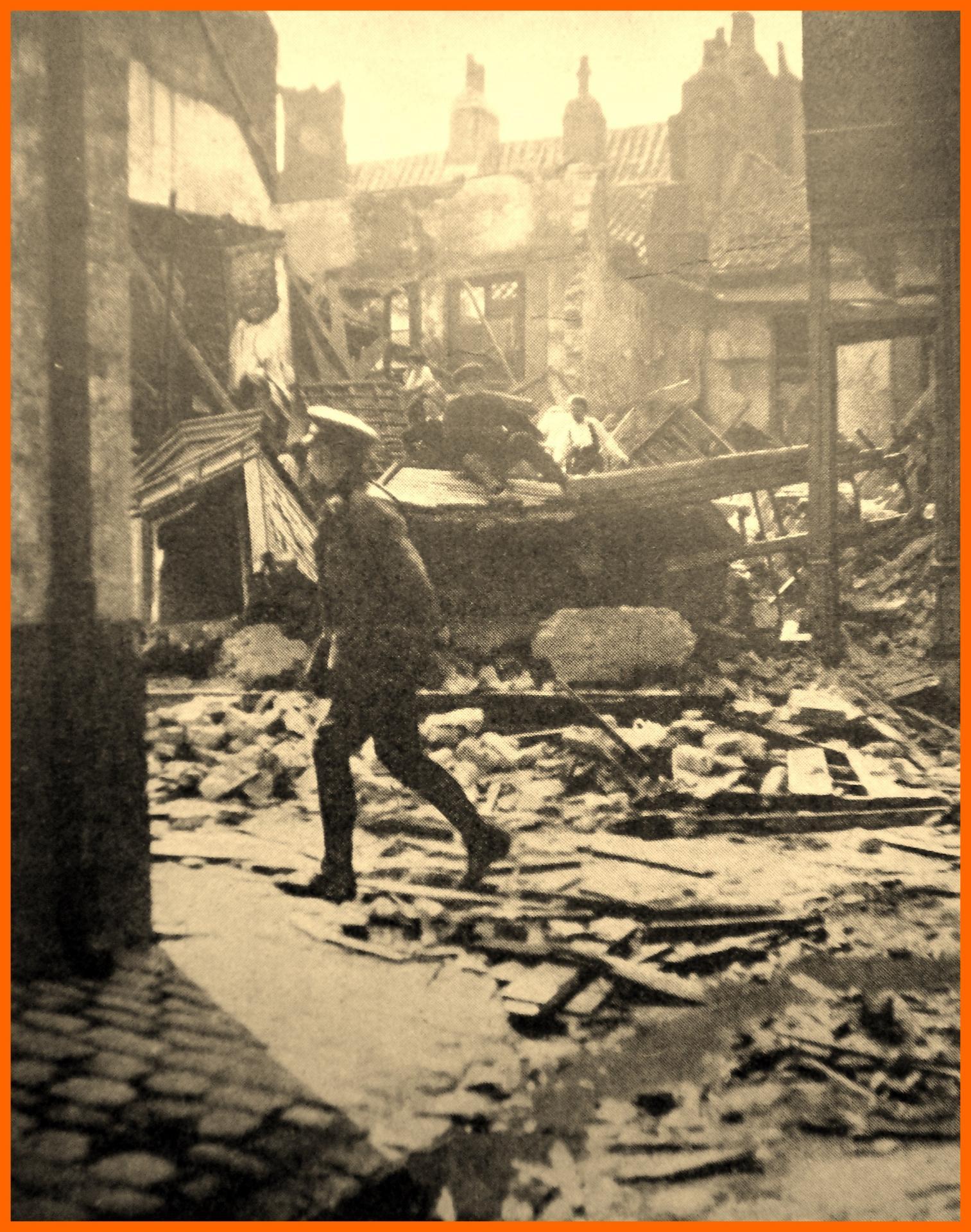 Calais 14 18 bombardement du 22 juillet 1918 45 et 47 rue francaise encadre