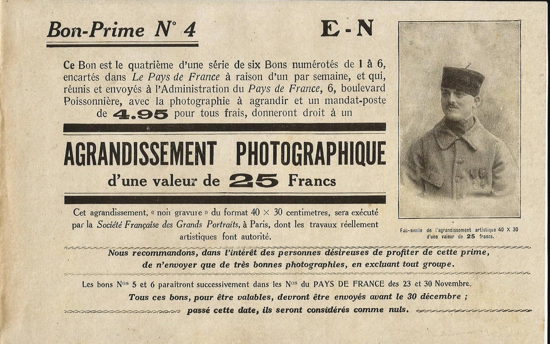 Calais 14 18 bon prime pour un tirage photographie fait en 1916