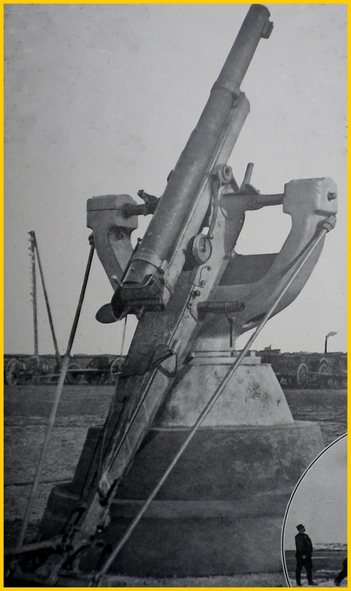 Calais 14 18 canon de 75 belge a la batterie de l estran encadre
