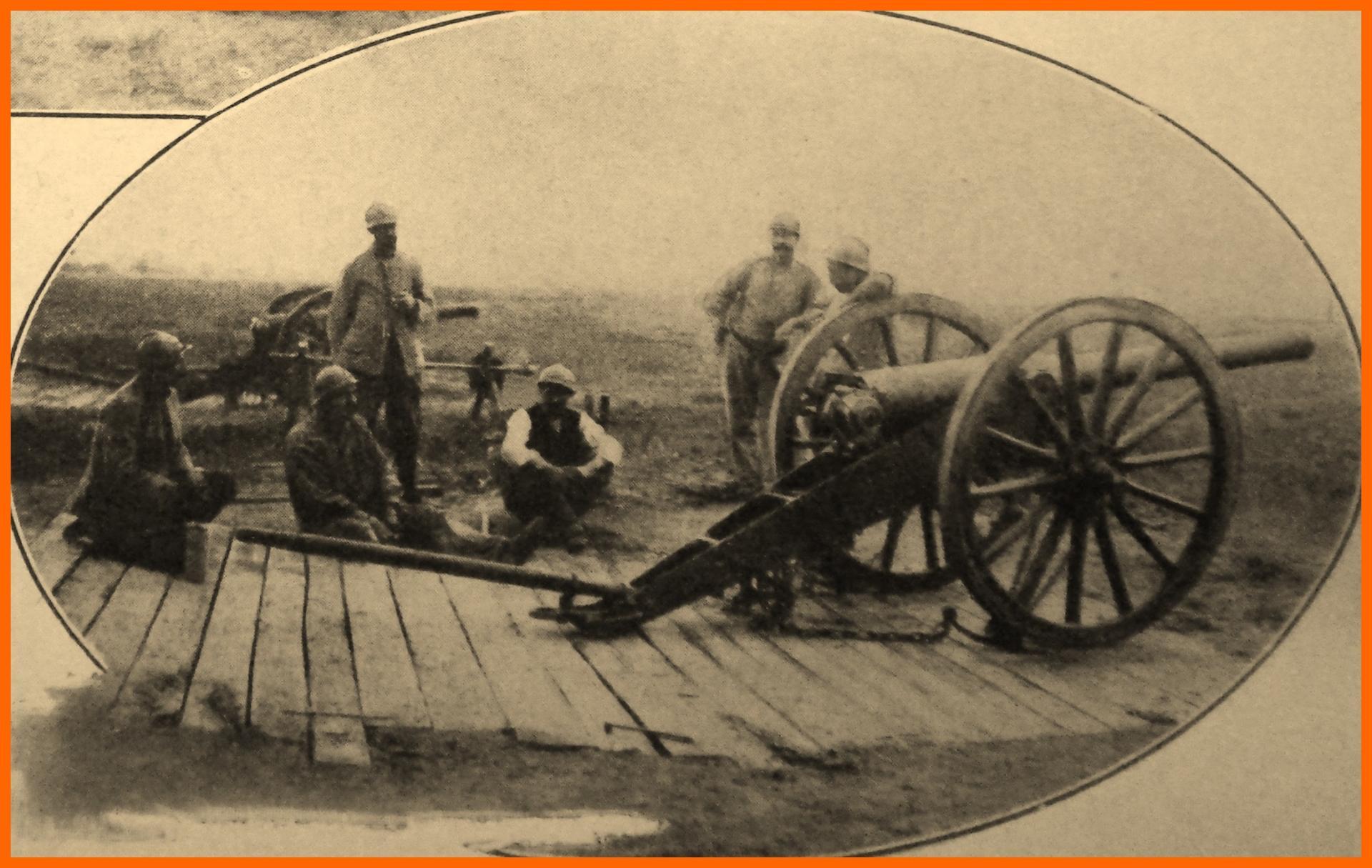 Calais 14 18 canon de la defense du camp de calais encadre