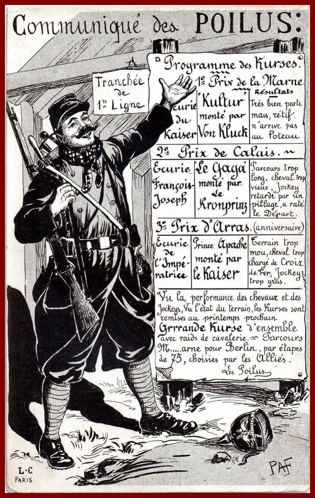 Calais 14 18 communique des poilus encadre