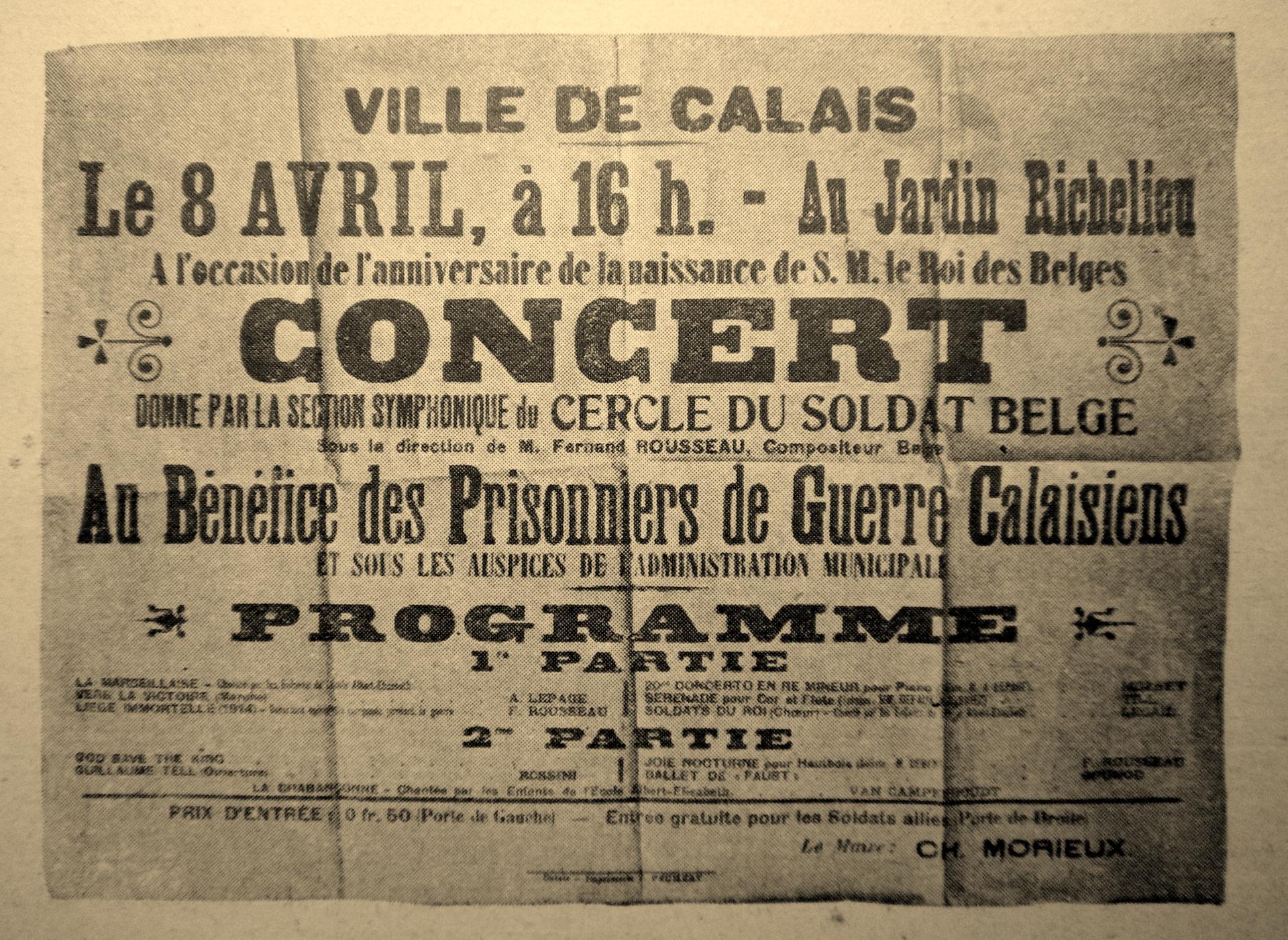Calais 14 18 concert au benefice des prisonniers de guerre calaisiens