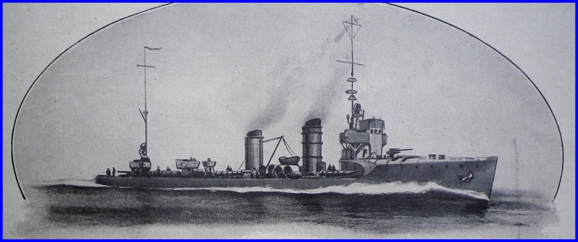 Calais 14 18 destroyer allemand g 85 qui bombarda calais nuit du 20 21 avril 1917 et qui fut coule par le destroyer anglais bloke encadre