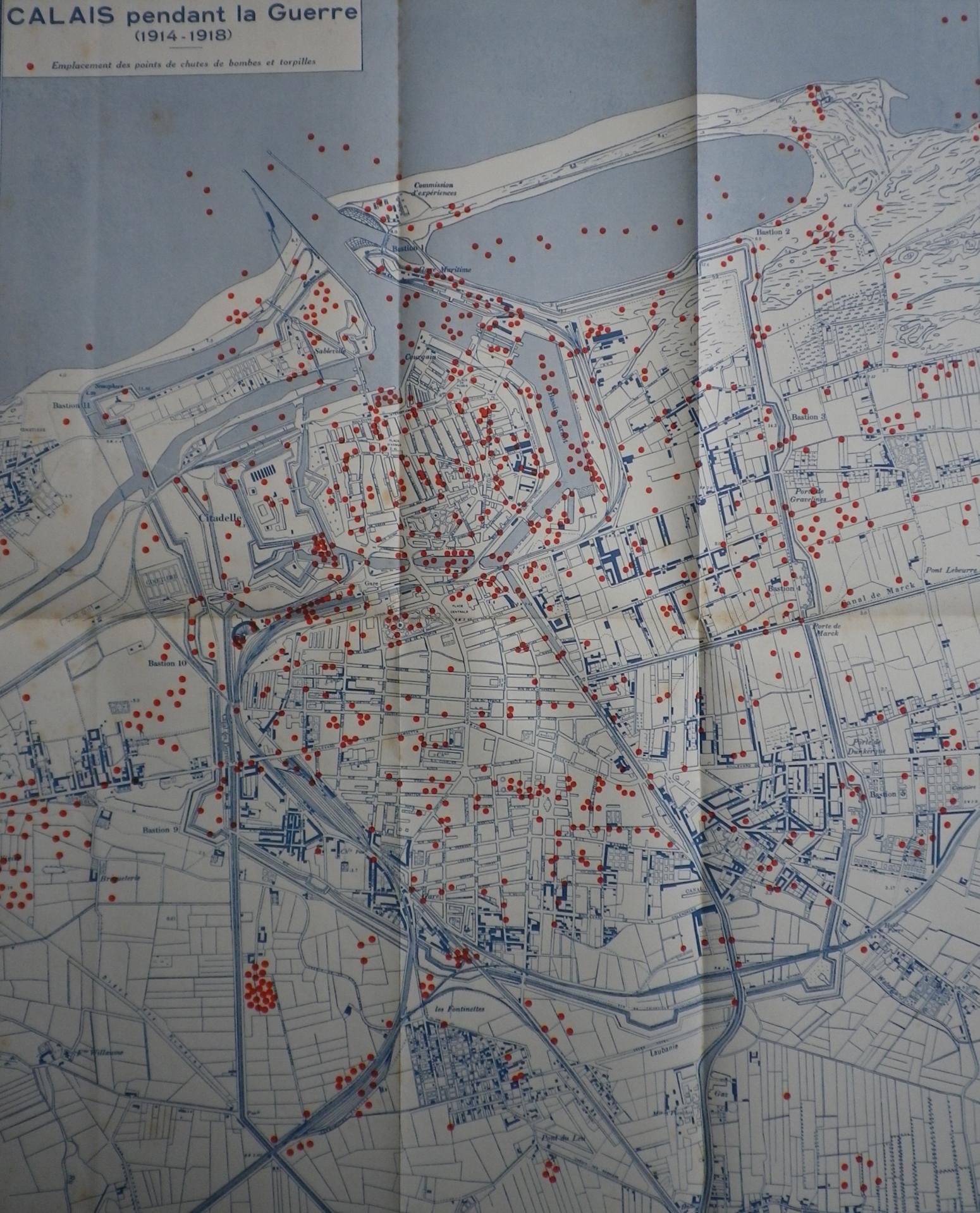 Calais 14 18 emplacement de chute de bombes pendant la guerre
