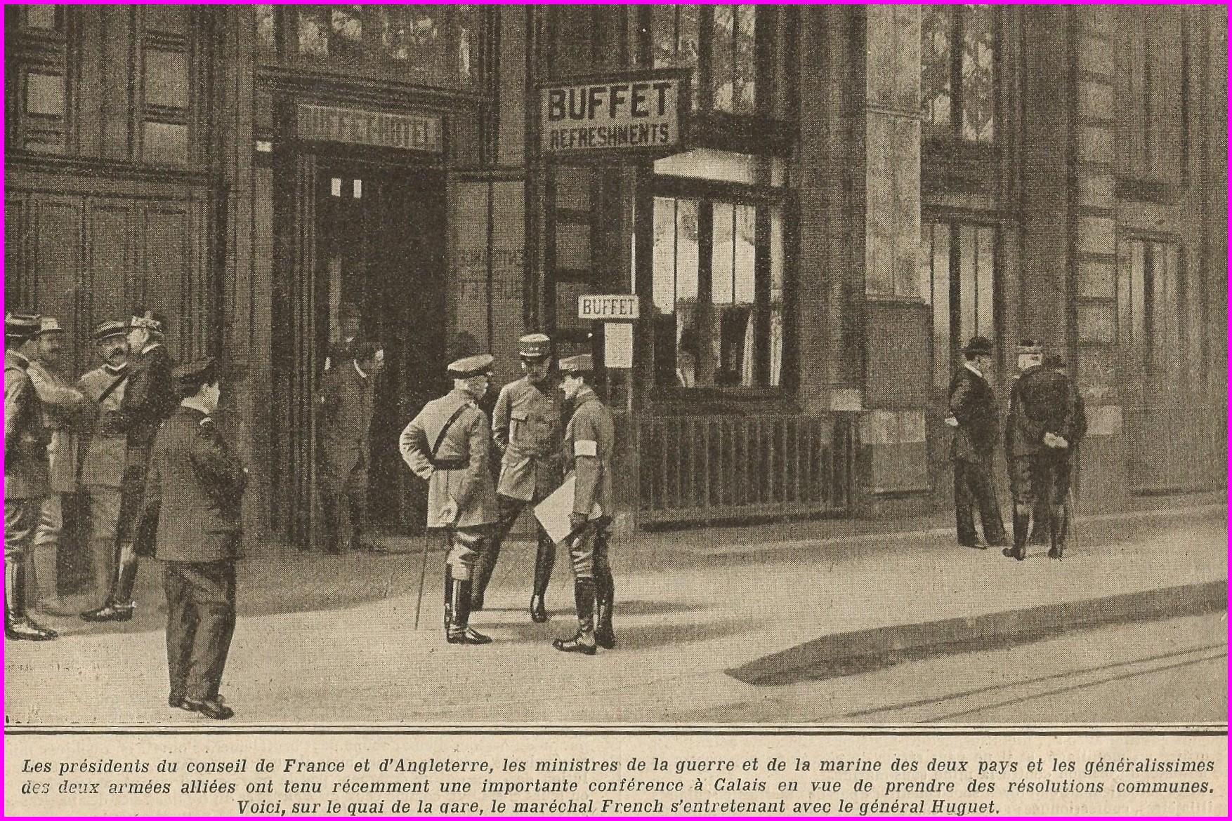 Calais 14 18 entrevue entre la france et l angleterre sur la guerre juillet 1915 encadre