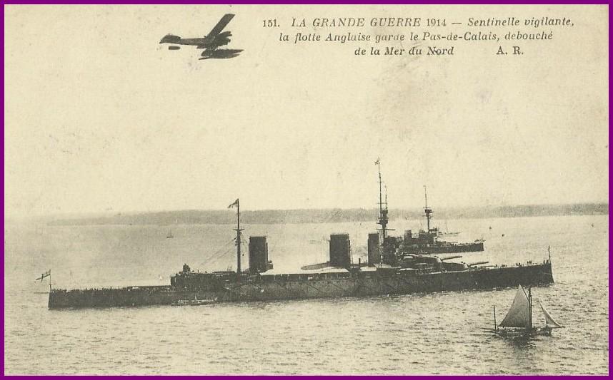 Calais 14 18 flotte anglaise 1914 encadre