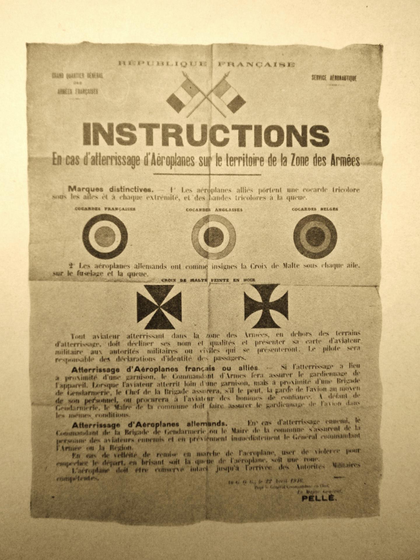 Calais 14 18 instructions en cas d atterrisage d avions