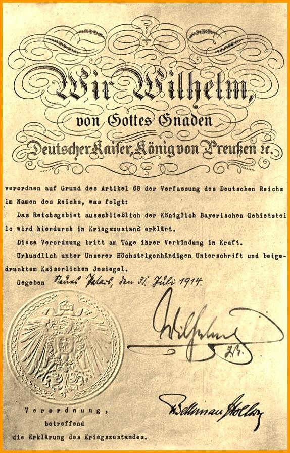 Calais 14 18 la declaration de guerre signee par guillaume ii encadre