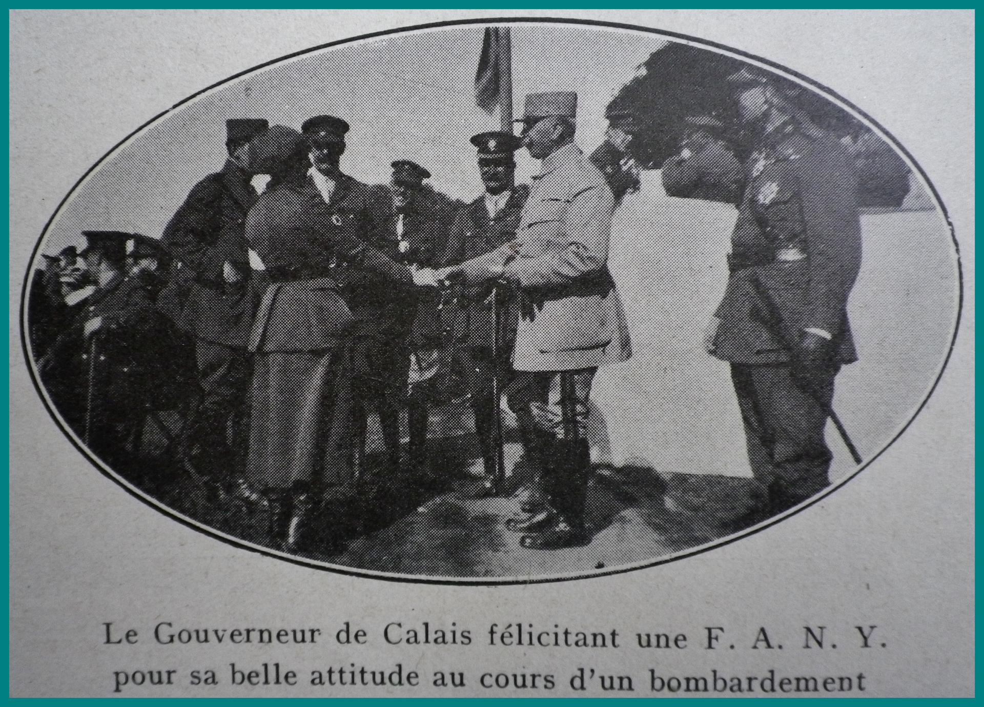 Calais 14 18 le gouverneur de calais felicite une fany encadre
