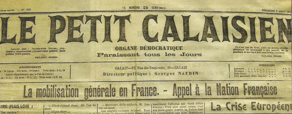 Calais 14 18 le petit calaisien mobilisation generale