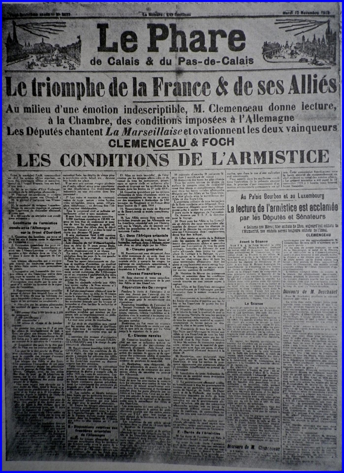 Calais 14 18 les conditions de l armistice encadre