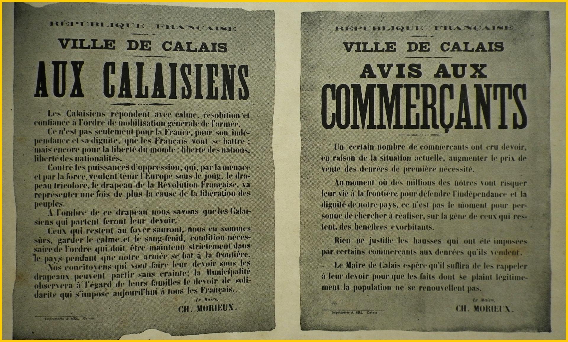 Calais 14 18 les deux premieres proclamations du maire de calais encadre
