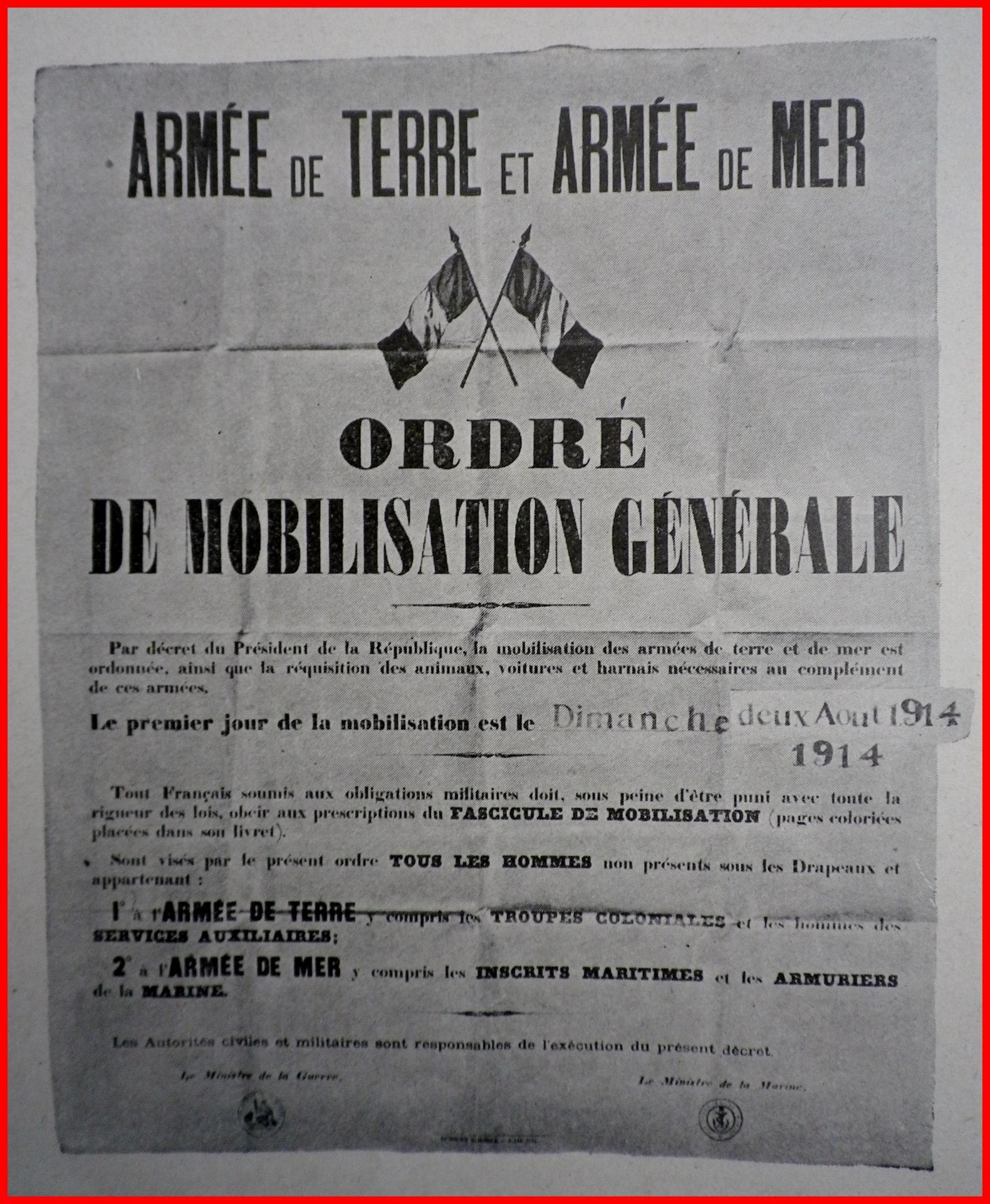 Calais 14 18 orde de mobilisation generale encadre