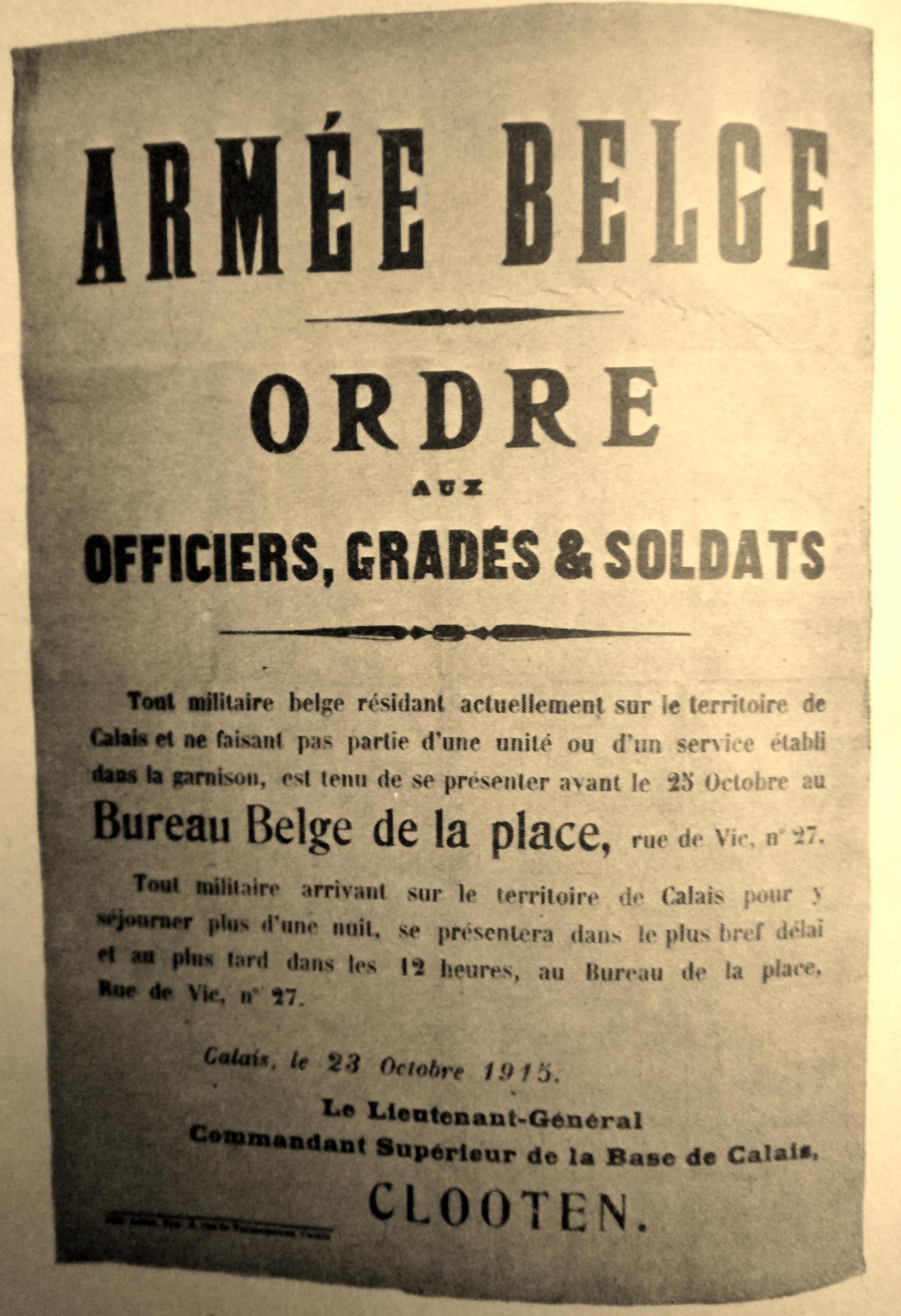 Calais 14 18 ordre armee belge