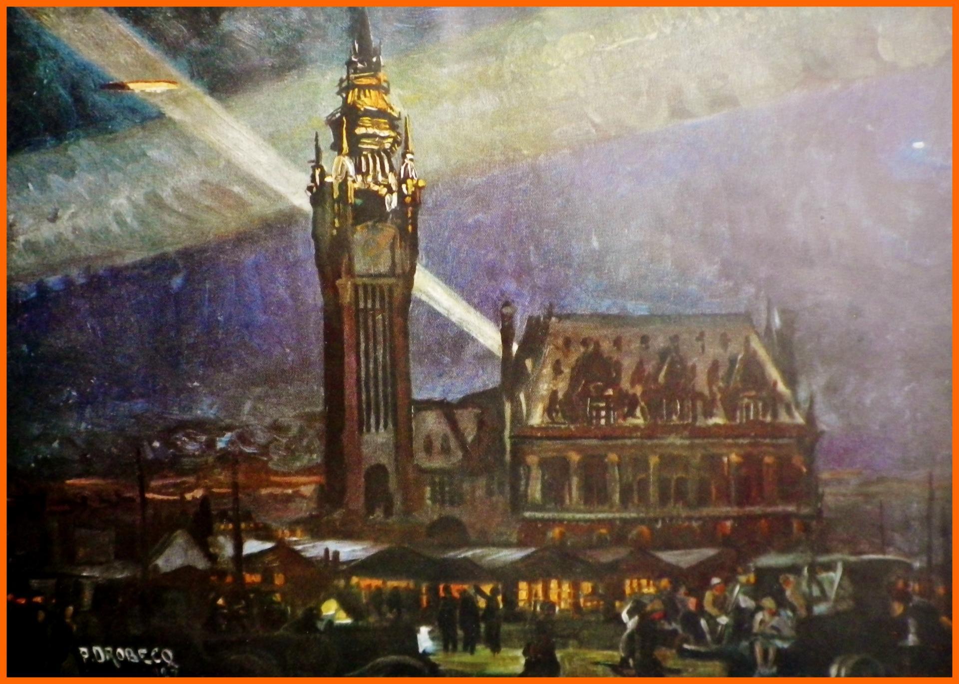 Calais 14 18 peinture de drobecq encadre
