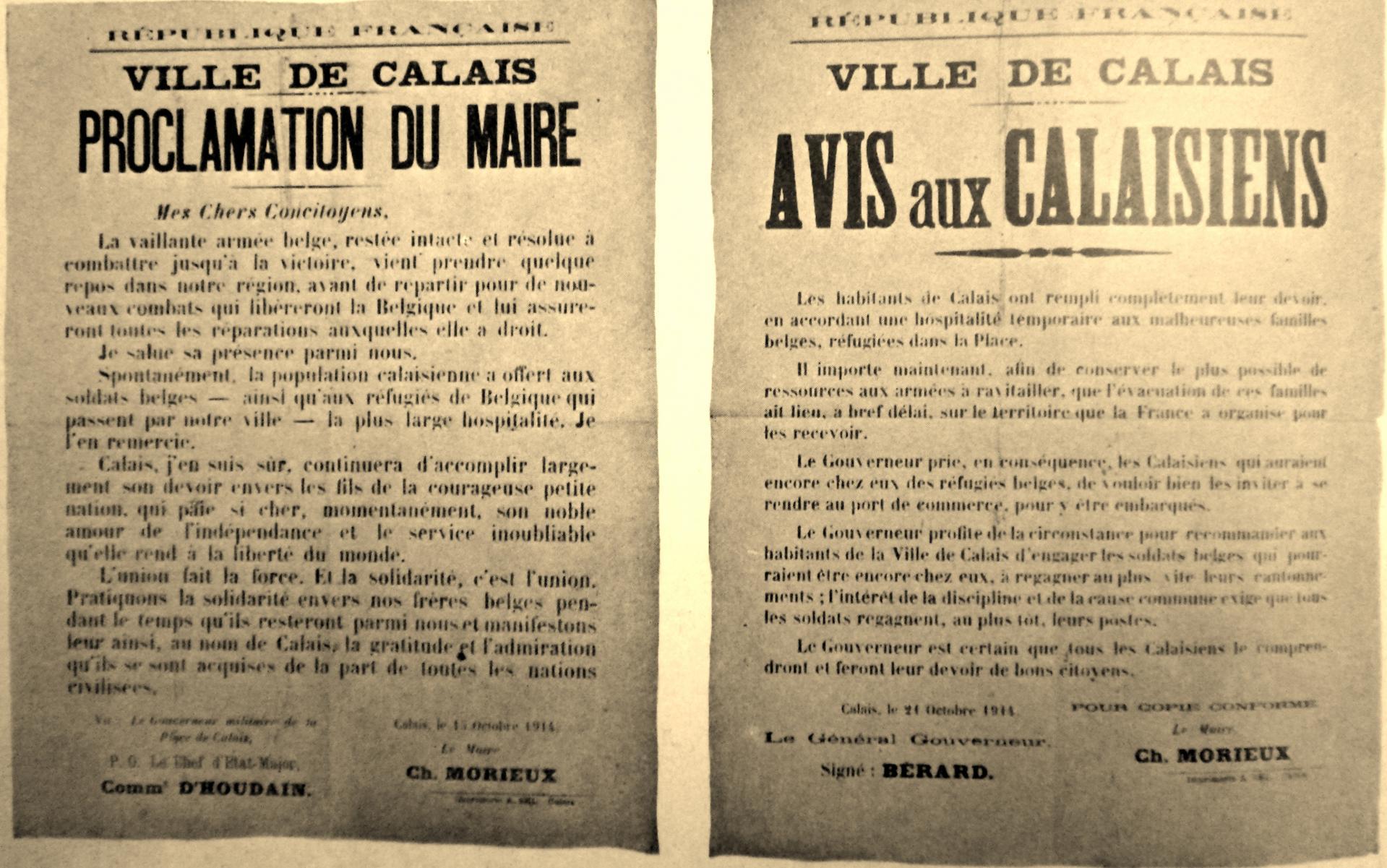 Calais 14 18 proclamation du maire de calais sur l arrivee des belges