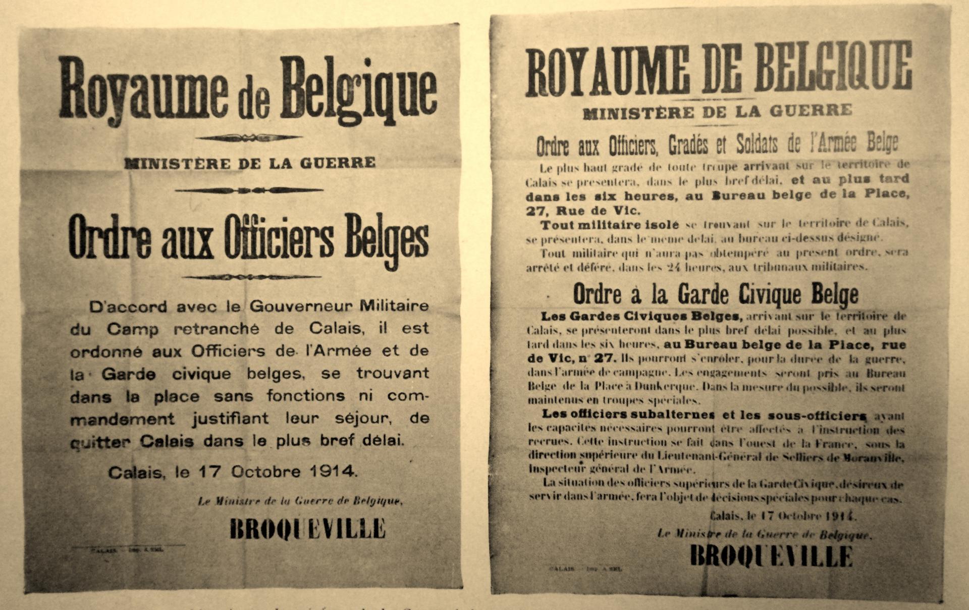 Calais 14 18 proclamations belges