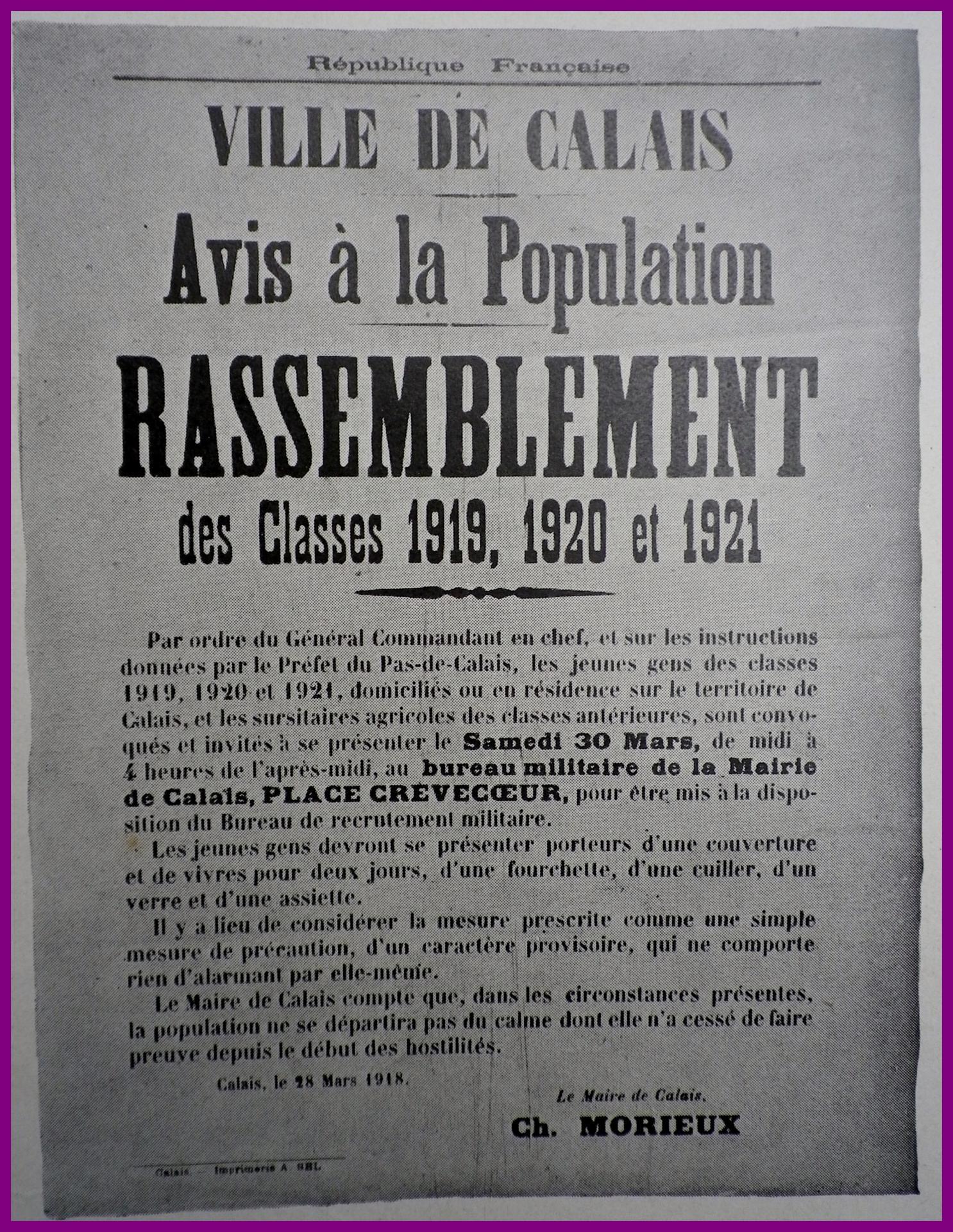 Calais 14 18 rassemblement des classes 1919 a 1921 encadre