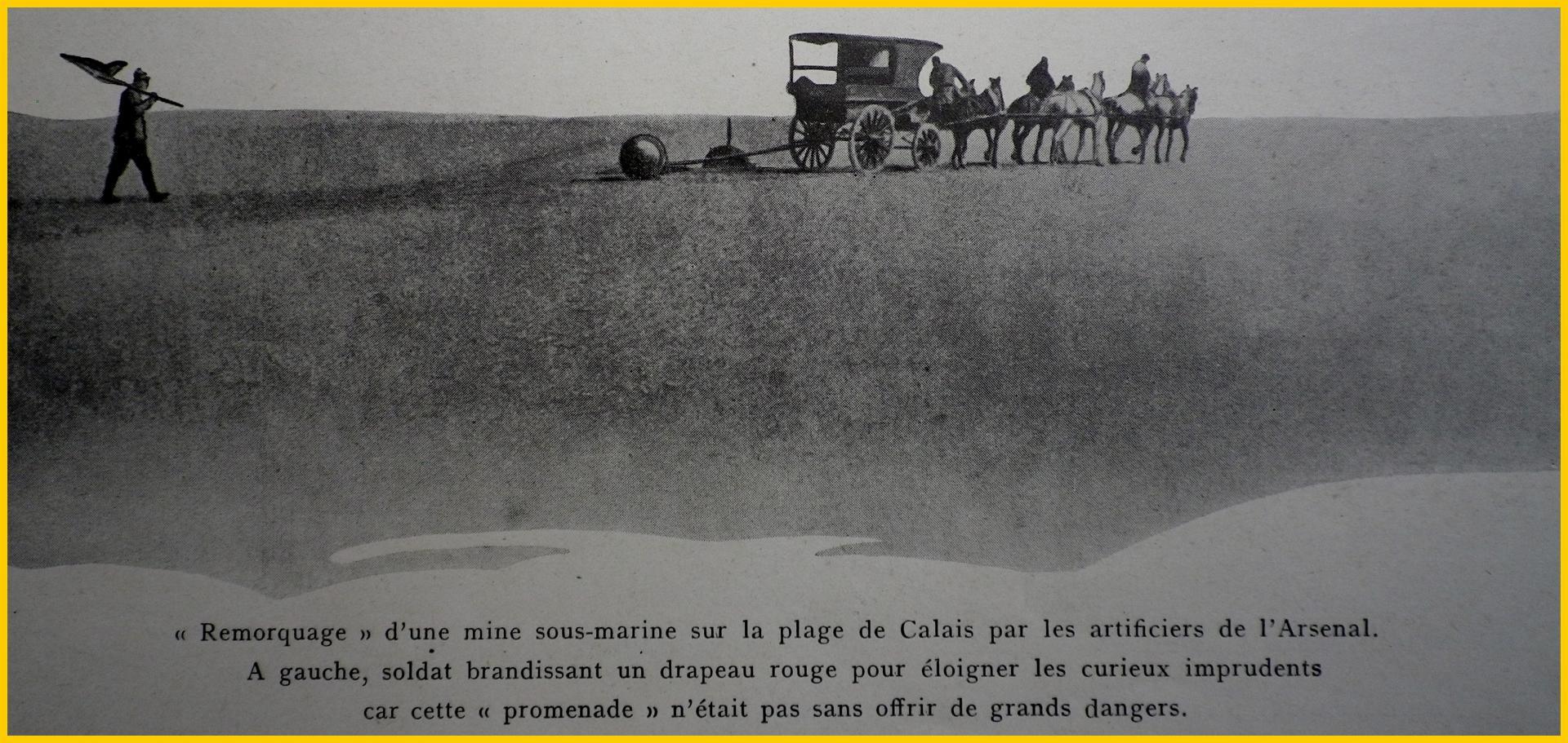 Calais 14 18 remorquage d une mine sous marine plage de calais encadre