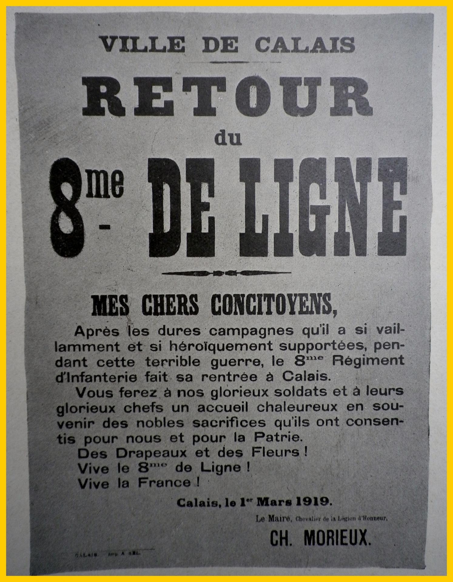 Calais 14 18 retour du 8eme regiment d infanterie a calais encadre