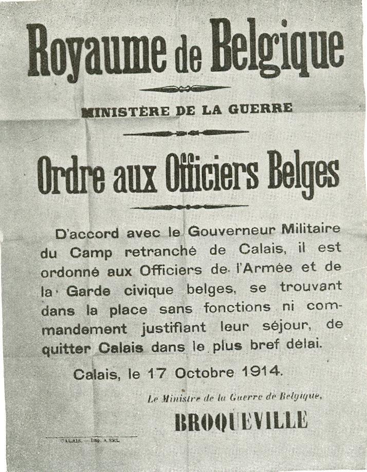 Calais 14 18 royaume de belgique ordre aux officiers belges