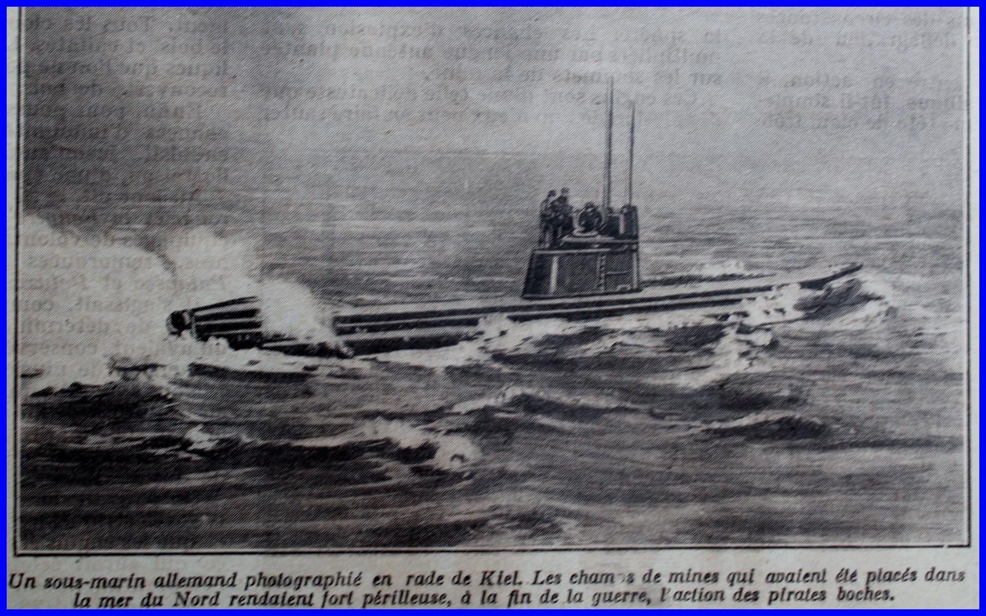 Calais 14 18 sous marin allemand parmi les champs de mines encadre