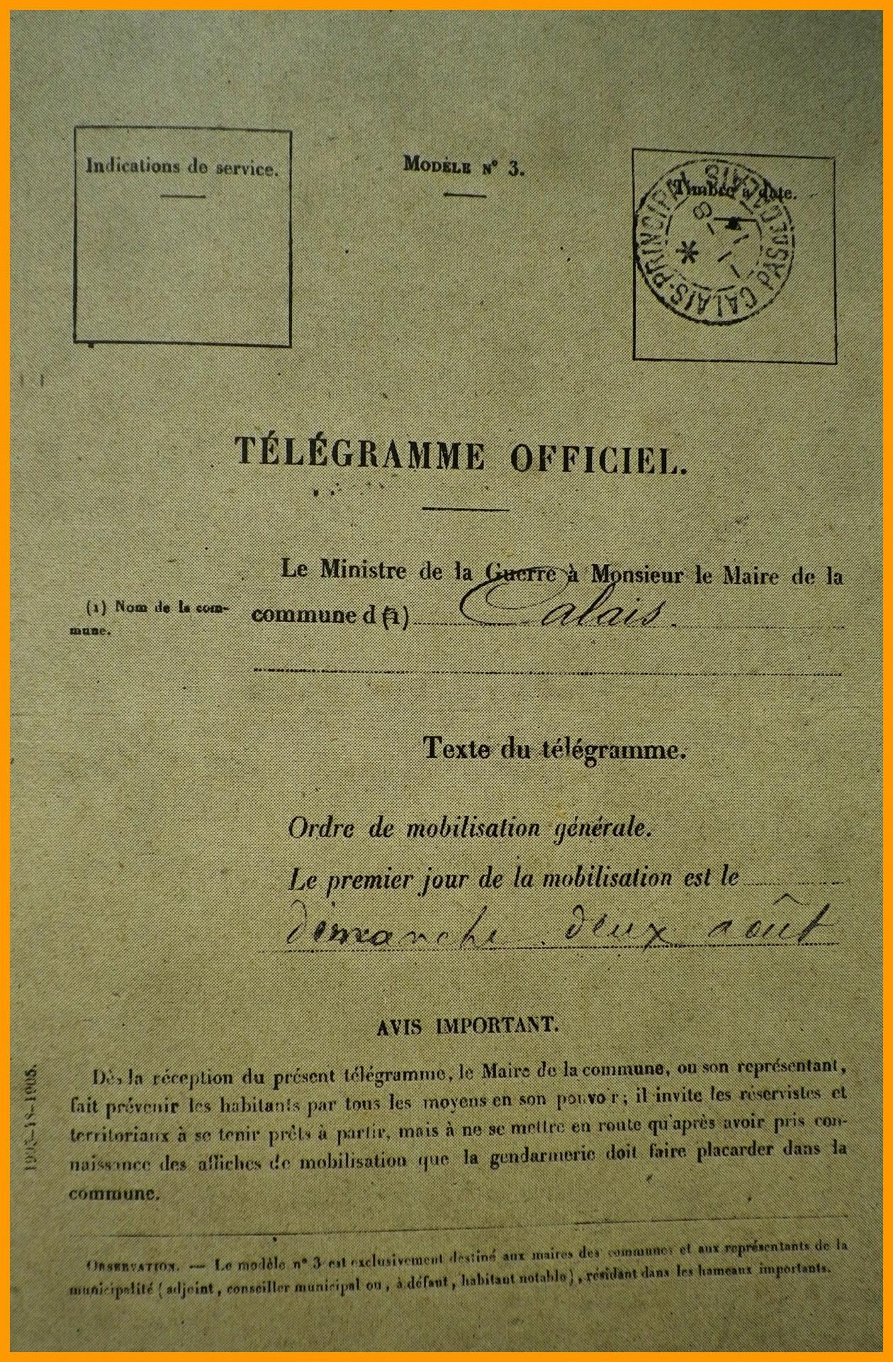 Calais 14 18 telegramme de la mobilisation encadre