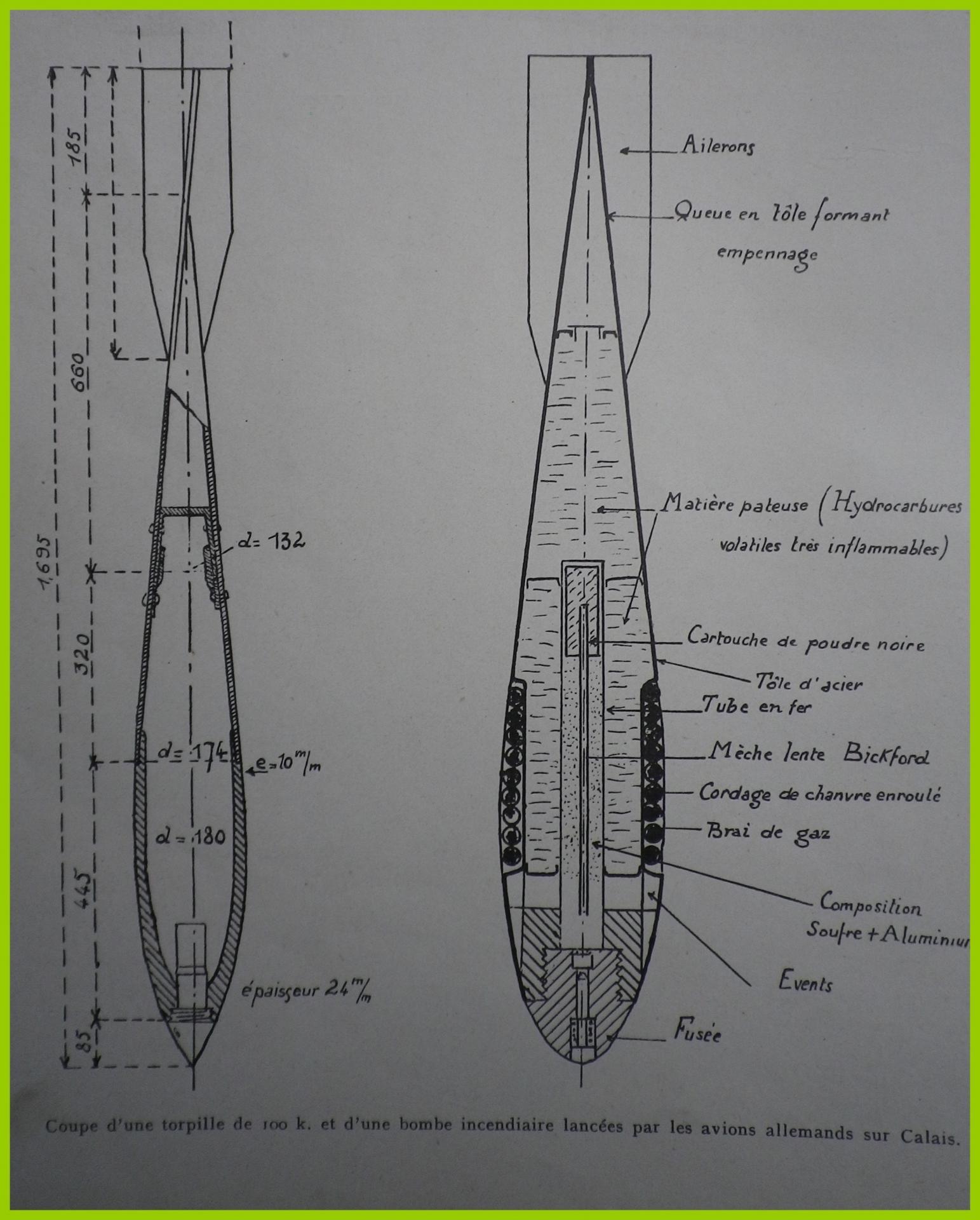 Calais 14 18 torpille de 100 k et bombe incendiaire lancees par les avions allemands sur calais encadre