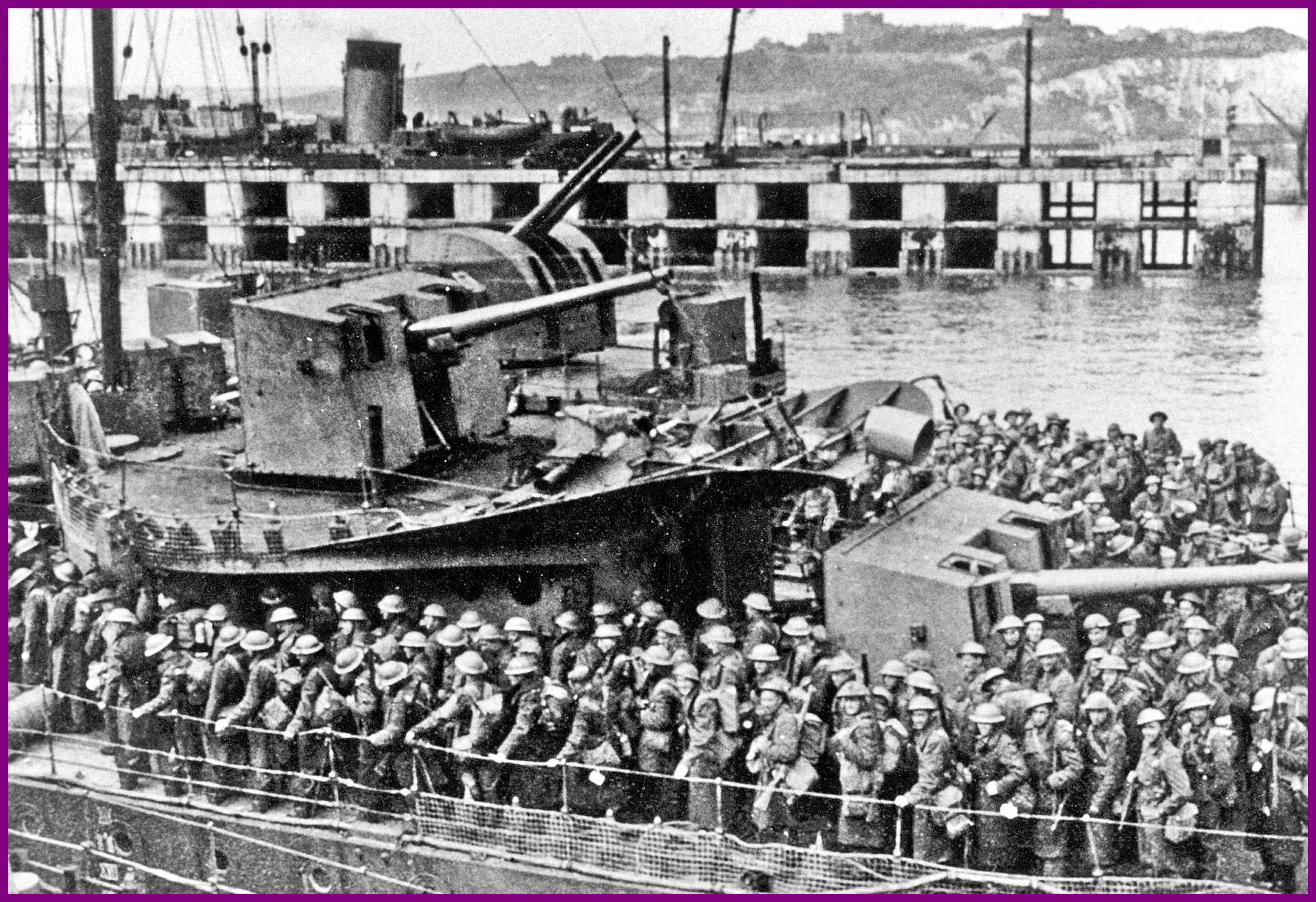 Calais 14 18 troupes anglaises au depart de douvres pour calais encadre diminue